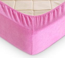 Купить розовую махровую простынь на резинке